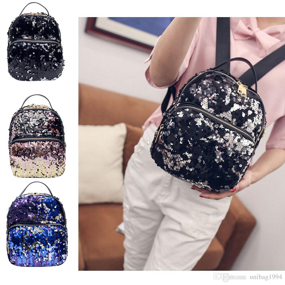 Women Girls Mini Backpack Sequin Leather Rucksack School Bag Travel Handbag