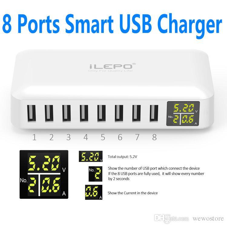 iLEPO Smart USB Charger With 8 Port US EU UK USB Plug Charger LCD Display Portable Cell Phone Charger Retail Box