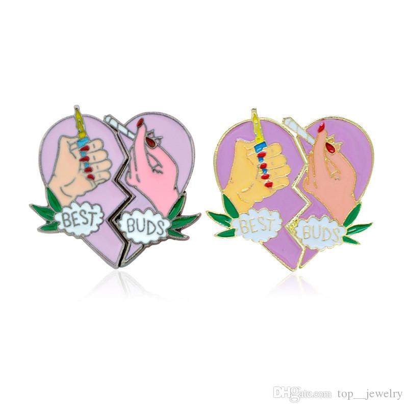 Nicely BEST BUDS Brooch Pins Button Metal Enamel Broken Heart Charm Brooches Fit Denim Jacket Collar Badge For Women BBF Friendship Jewelry