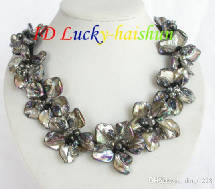 Handarbeit Barockblüte schwarze Perlen Muschel Kristall Choker Lederhalskette