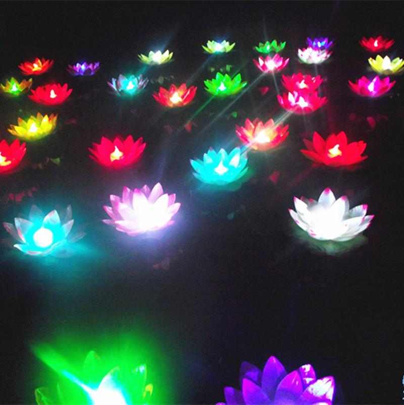 10pcs LED Colorful Changed Artificial Luminous lotus flower Lamp Lanterns floating pool decorations night light party supplies