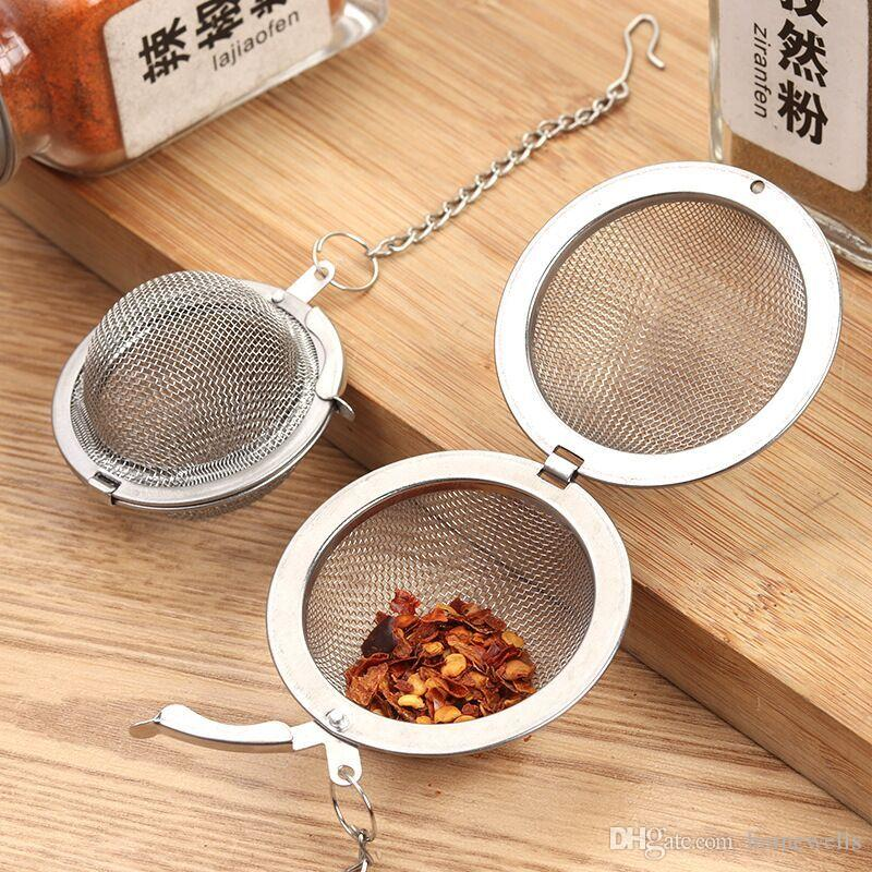 304/201 Stainless Steel Tea Infuser 4.5cm 5.5 7cm 9cm Tea Pot Infuser Strainer Ball Spices Kitchen Cooking Soup Infusers Tool 100PCS Free