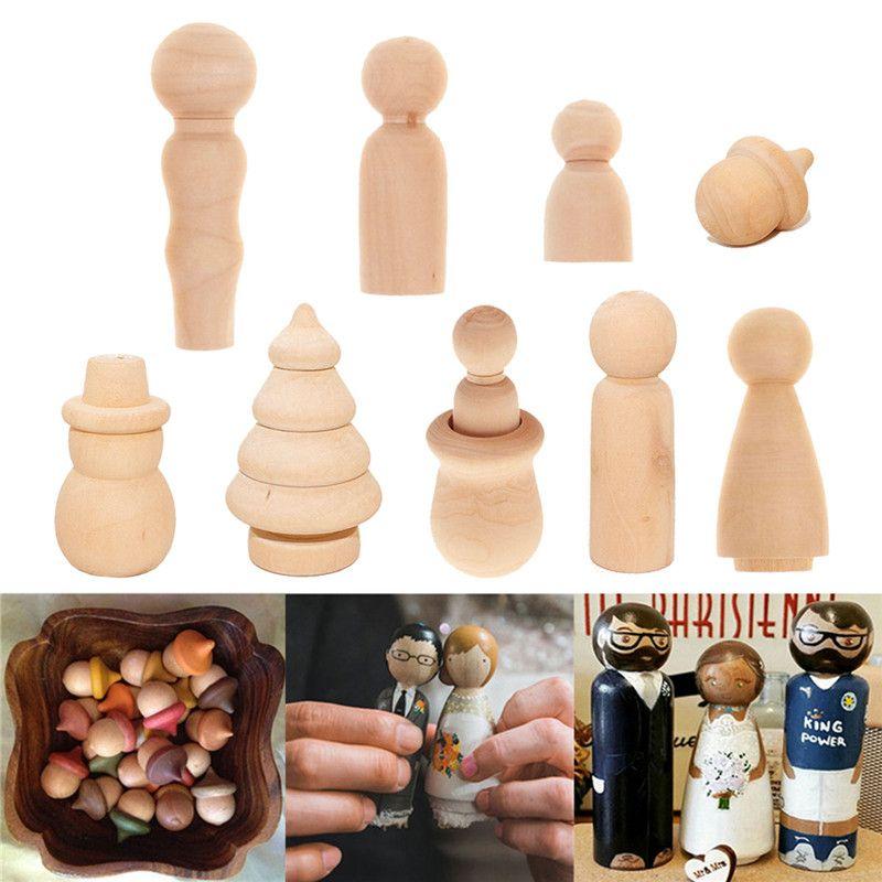 Plain Peg Dolls Cups Natural Blank Peg Dolls People Set for Imaginative Play DIY Wood Cake Toppers Wooden DIY Family Peg Dolls
