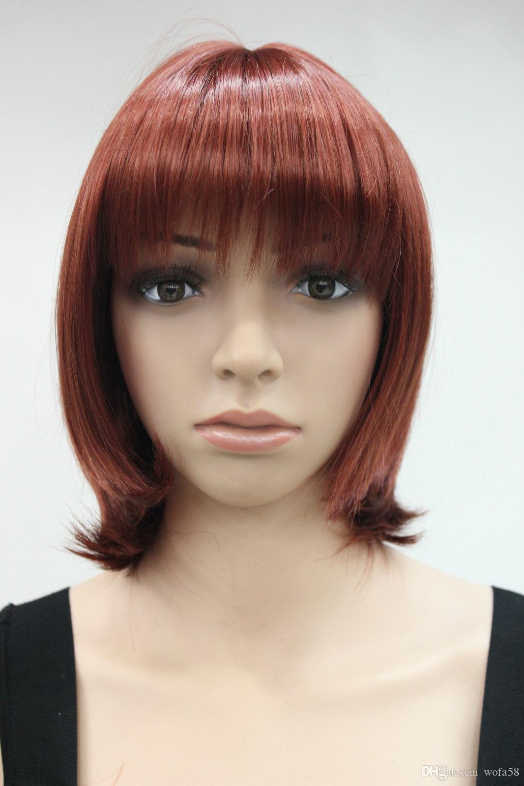 2018 Moda Cobre Rojo Corto recto flequillo vida cotidiana peluca