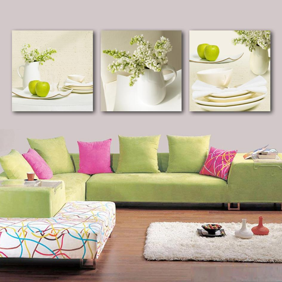 3 piezas lienzo pintura flores florero lienzo cartel de impresión para la sala de estar decoración del hogar sin marco