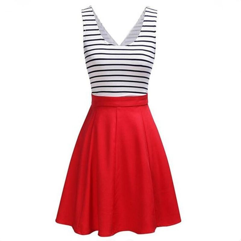 شريط الطباعة ثوب الصيف أوروبا روسيا تريند المرأة سيدة أحمر أزرق الرقبة سكوب مطوي أكمام الخصر خليط مطوي الكرة بثوب