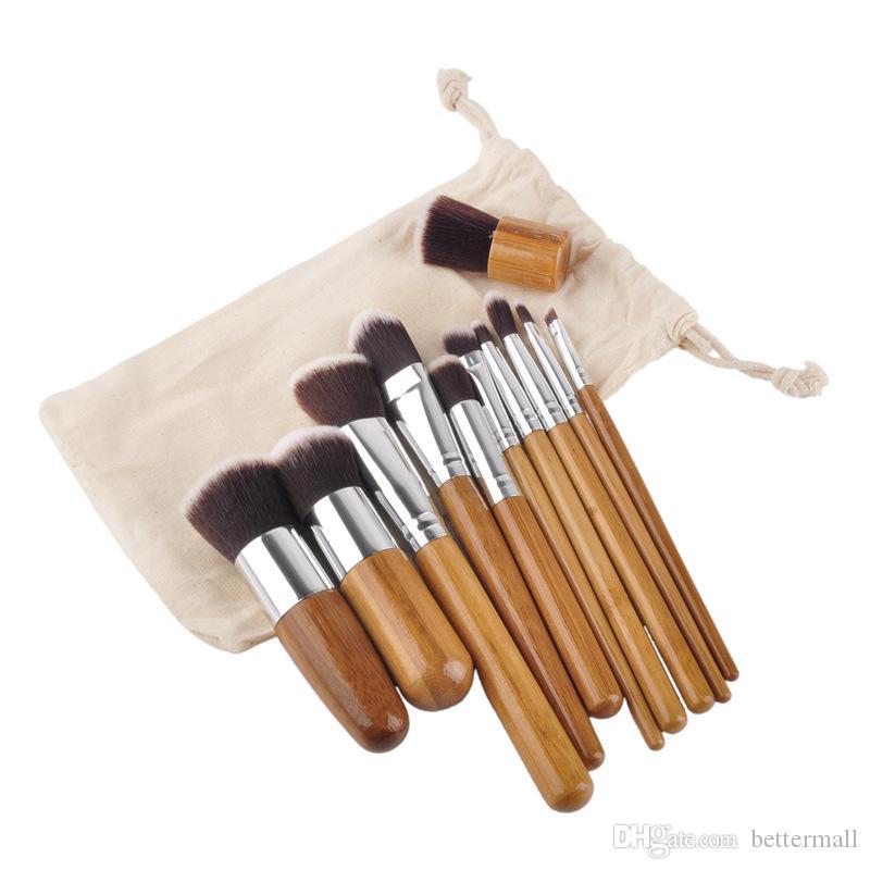 Pinceles de maquillaje Herramientas de cosméticos Mango de bambú natural Sombra de ojos Maquillaje cosmético Juego de cepillos Blush Kit de cepillos suaves con saco BR003