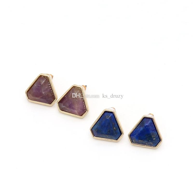 Fashion Triangle Natural Stone Stud Earrings Geometric Gem Crystal Earrings for Women Jewelry gift High Quality