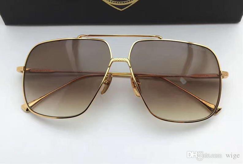 Box ile Erkekler Kare Pilot Güneş Altın / Kahverengi Gradyan Güneş Sürüş Gözlük Gözlük New Cool