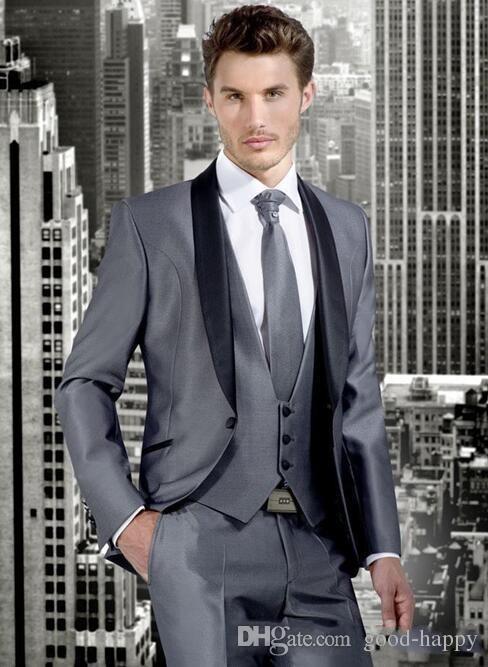 New Style Silver Grey 3 piezas traje hombres boda esmoquin novio moda esmoquin alta calidad hombres cena Prom Blazer (chaqueta + pantalones + Tie + Vest) 1262