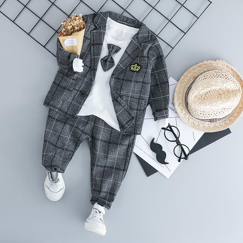 Baby Boy Clothing Sets Male Children Clothes Suits Kid Gentleman Style Coats T Shirt Pants Grid Infant Clothes