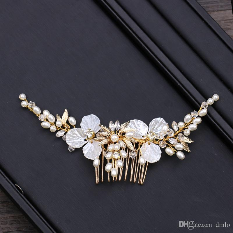 Bridal Headdress Wedding Hair Clips Combs for Bride Pearls Hairpins Bridal Hair Combs Gold Bridal Headpiece Women Hair Jewelry Accessories