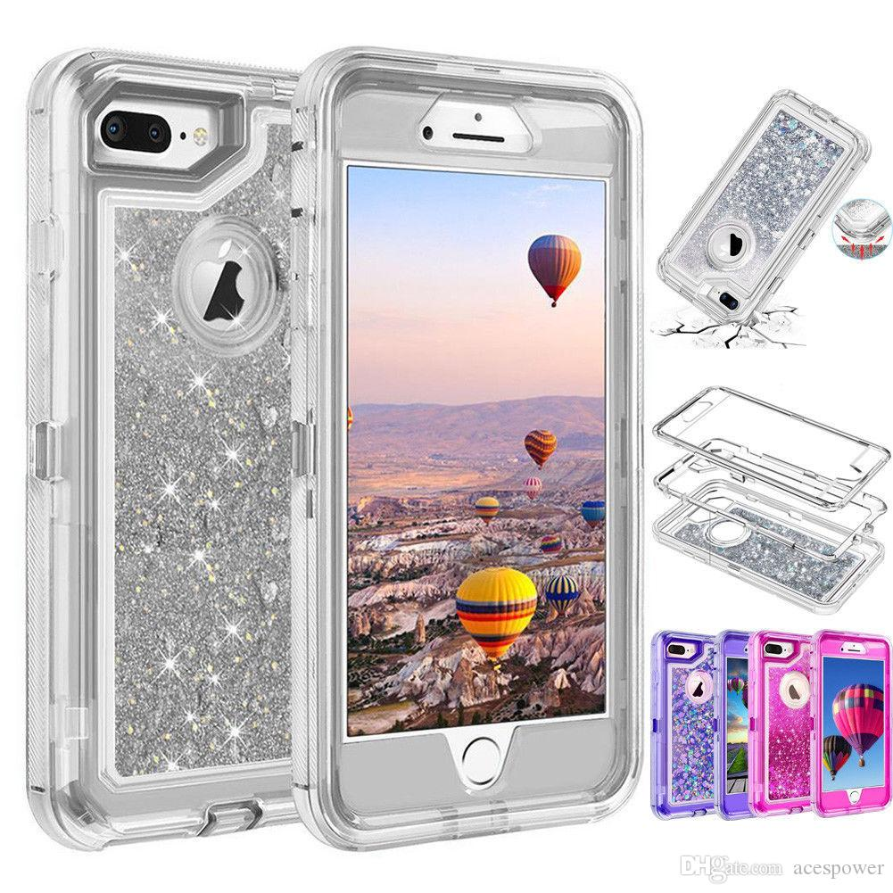 Quicksand Robot Cases Crystal Liquid Glitter Cases Cover For Iphone 11 Pro XS MAX XR X 8 Plus Samsung Note 10 Without Clip