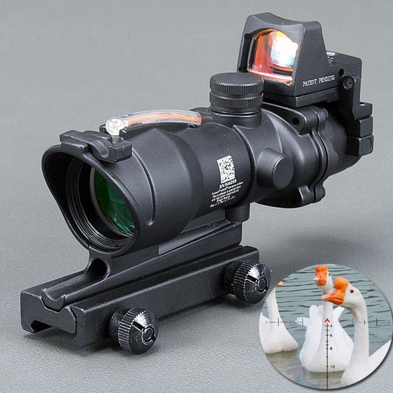 Trijicon ACOG 4X32 Optic Scope Rifle CAHEVRON Absehen Fiber Grün rot beleuchtet Optikanblick Mit RMR Mini Rotpunktvisier