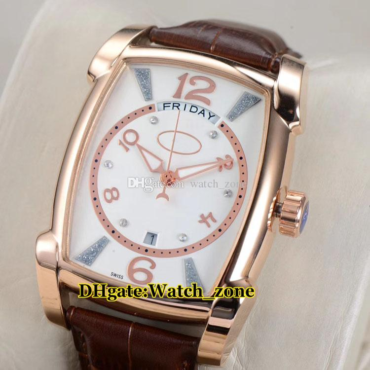 Kalpa Big Grande Tonda White Dial Automatic Movement Mens Watch Rose Gold Cheap New Leather Strap High Quality Gents Watches