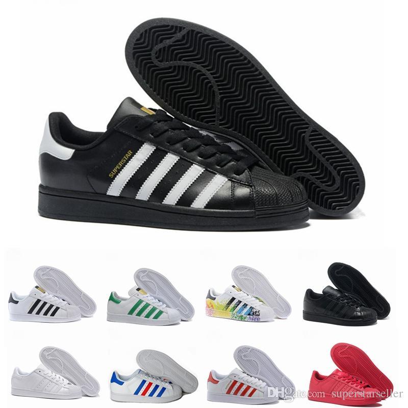Super Star weiß Hologramm schillernden Junior Superstars 80er Jahre Stolz Womens Sneakers Mens Trainer Superstar Sport Laufen Freizeitschuhe 36-45
