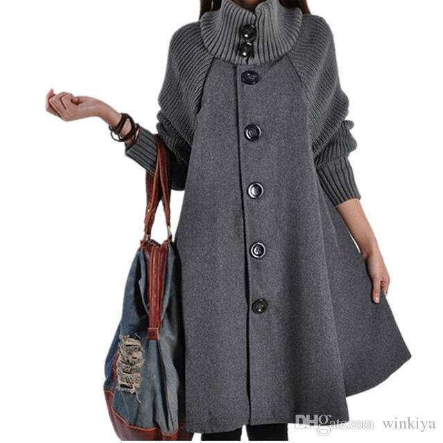 2018 Uzun Kadın Ceket Palto Pelerin Rüzgarlık Gevşek Kış Yün Ceket Kadın Sonbahar Manteau Femme Hiver Pelerin Sıcak Tüvit Fy02