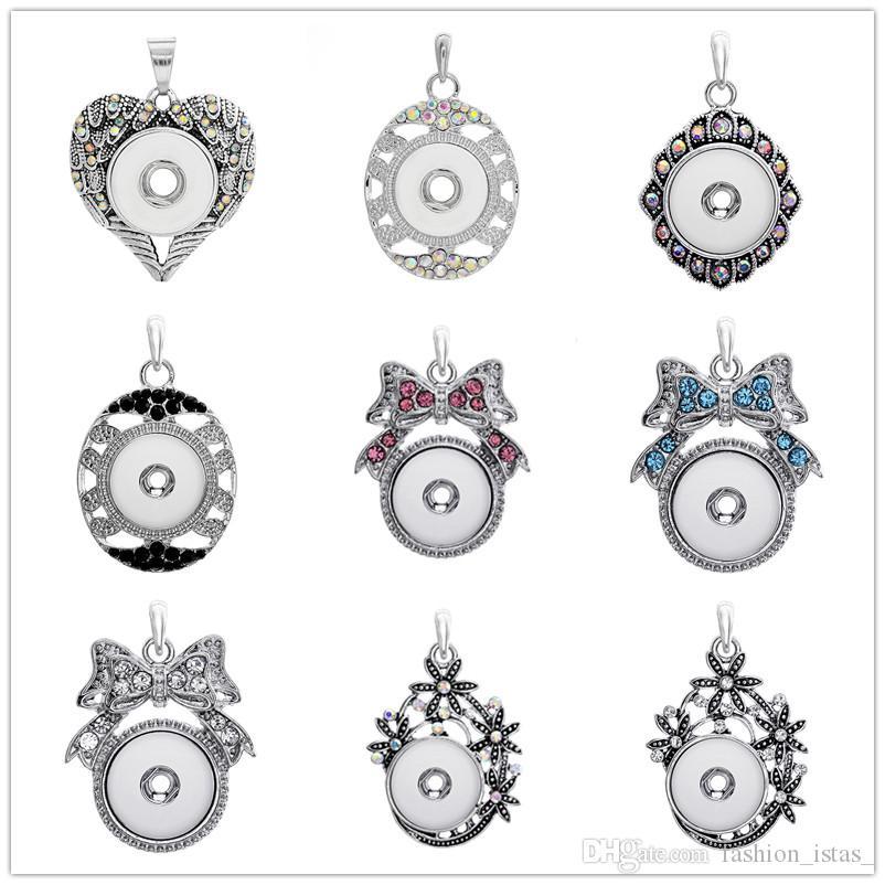 7 Estilo diferente Noosa Snap Collares pendientes Cadena de acero inoxidable Colores de la joyería Rhinestone Pajarita Collar colgante