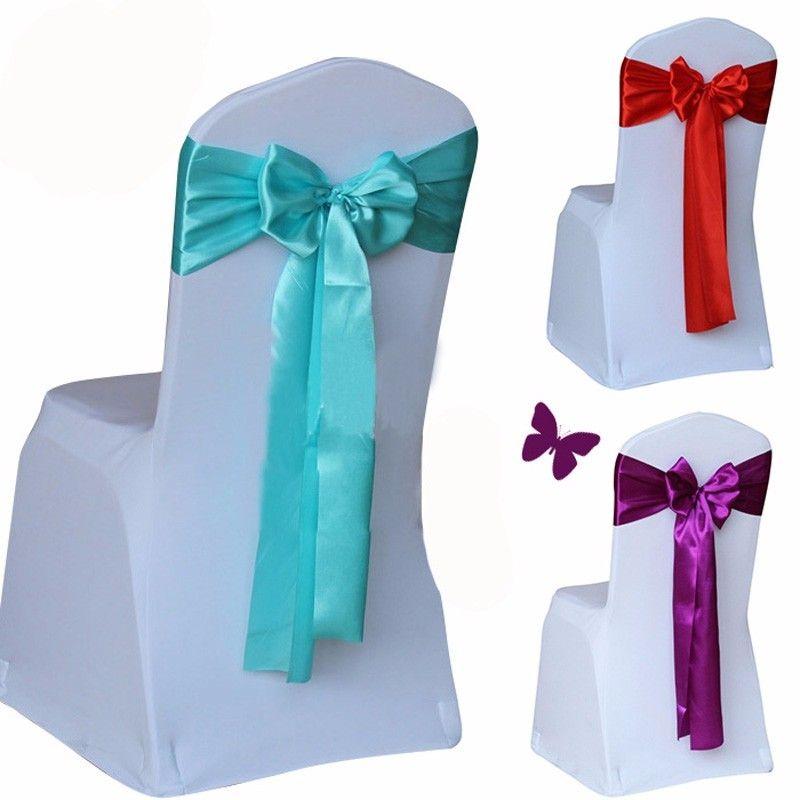 Rosso / oro / blu 14 colori della copertura della sedia da sposa fascia di raso tessuto fiocco tie nastro fascia decorazione hotel forniture per feste a buon mercato