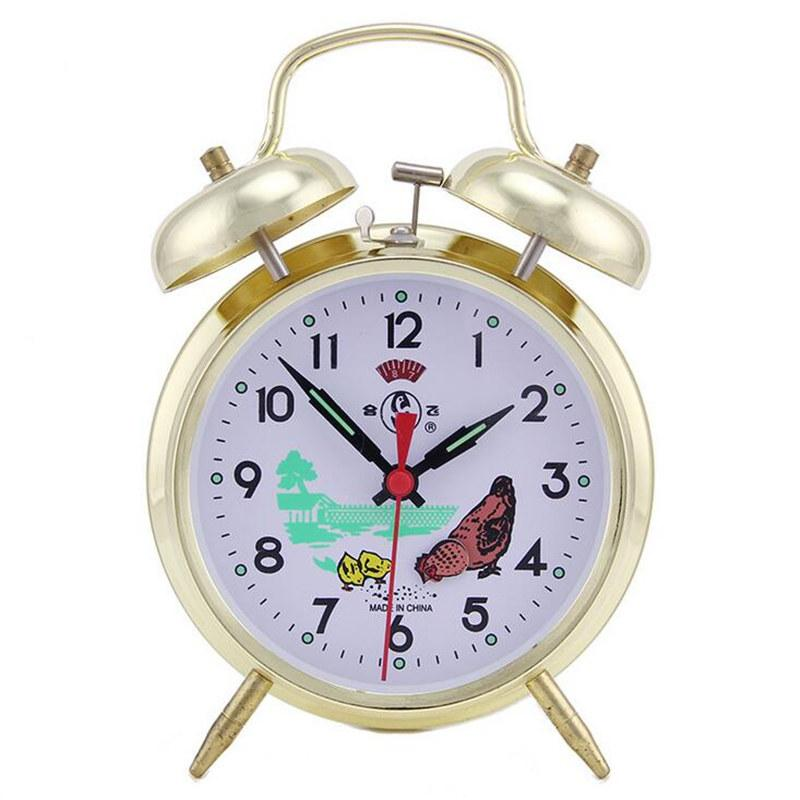 KTL 4 pulgadas Ultra-Stille Metal circular clásico Aguja reloj despertador Retro doble campana Oro Relojes de plata con luz de fondo