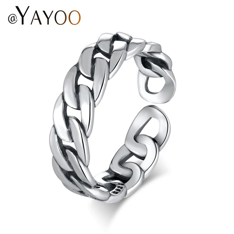 whole saleAYAYOO Rings Silver 925 Sterling Jewelry Rings For Women Vintage Chain Link Men Punk Ring Rock Open Midi Finger Ring Jewellery
