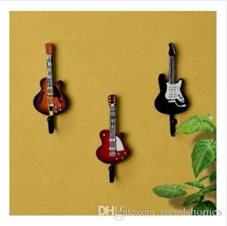 One Piece Resin Coat hooks wall mounted home decoration guitar hook key hanger decorative robe hooks