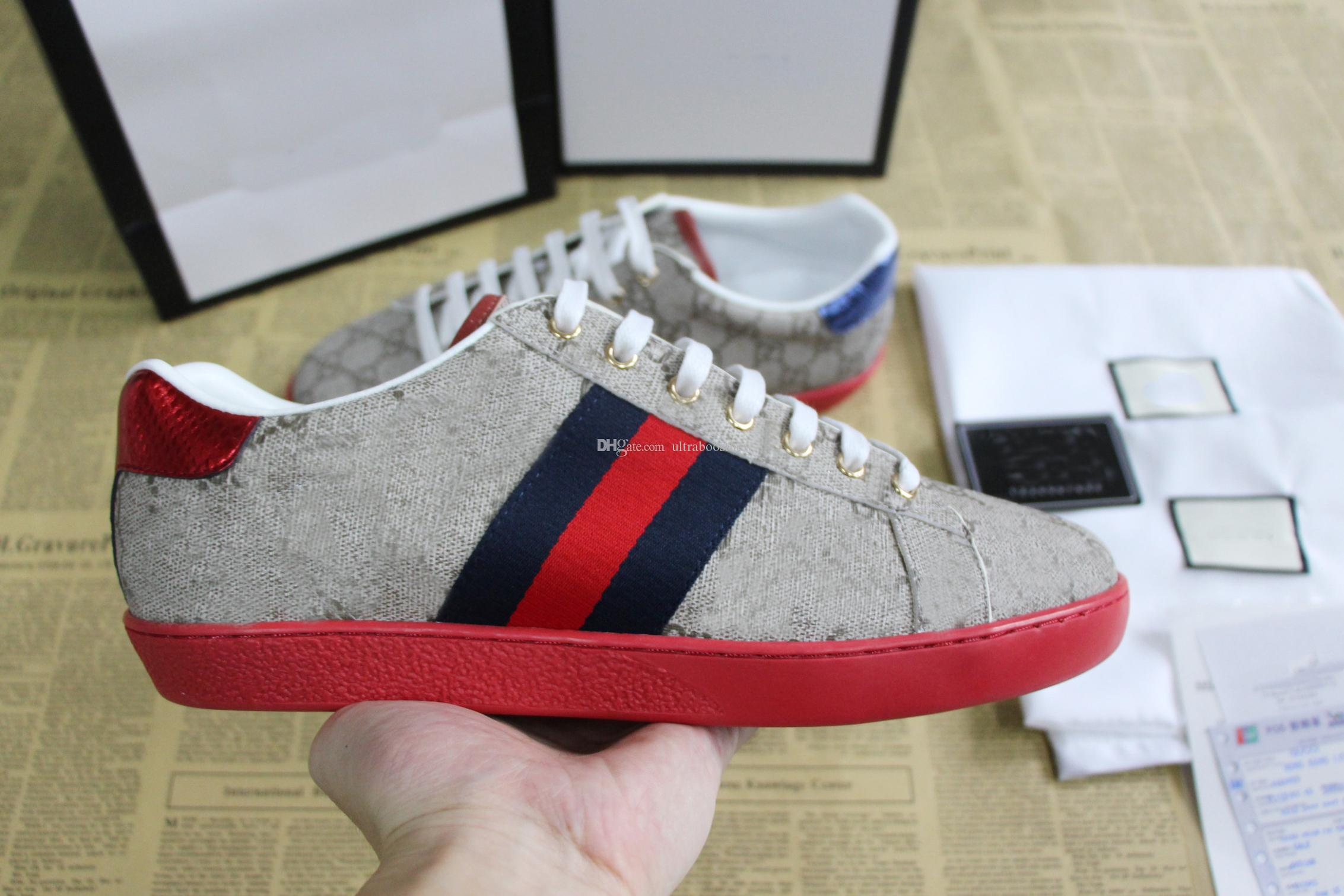 موضة جديدة فاخرة مصمم أحذية ace مع أحمر أسفل حقيقي جلد الرجال النساء عارضة حذاء أخضر أزرق شريط التطريز النحل نمر الأبنوس