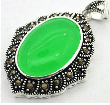 Envío gratis Natural Green Bead 925 collar de marcasita de plata esterlina 27 * 430 mm