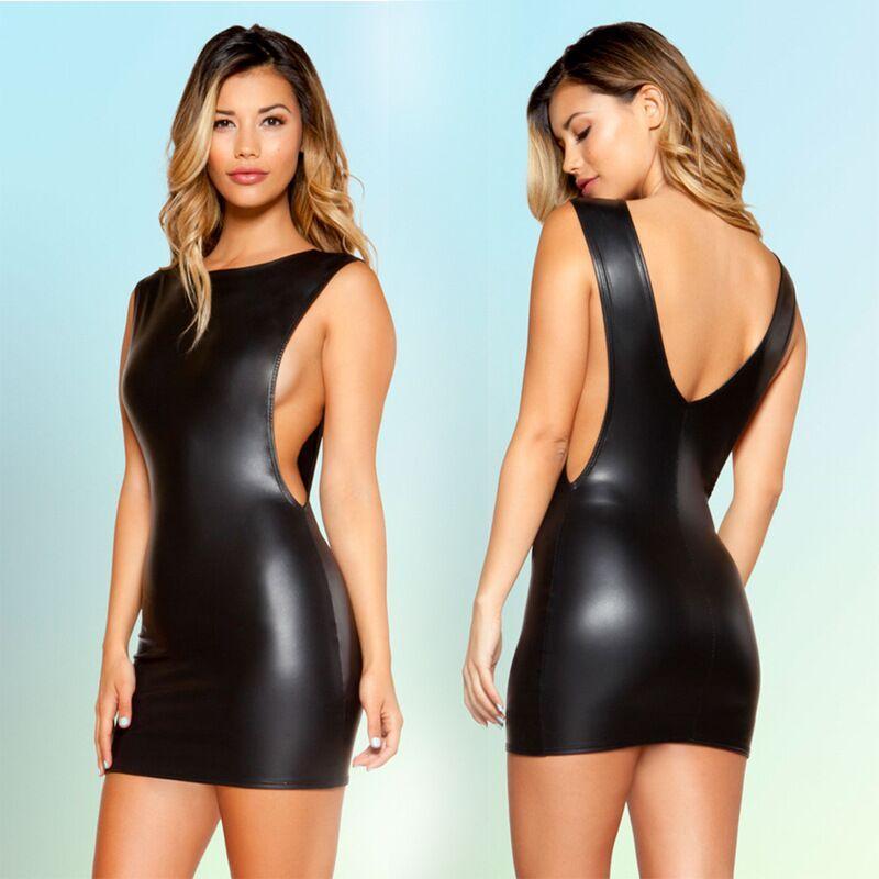 2018 New Arrival Kobiety Kostium Czarny Faux Leather Halter Mini Party Dress Faux Leather Clubwear Sexy Night Club Dress