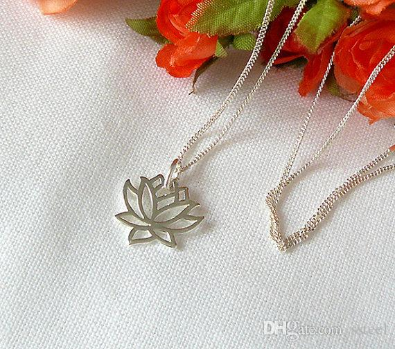 30pcs Fashion hollow Lotus pendant necklace personalized pretty metal flowers necklace Yoga petal plant flower lotus necklaces jewelry