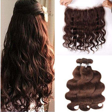Virgin Brazilian Dark Brown Human Hair Weaves with Full Lace Frontal 13x4 Body Wave 3Bundles #4 Chocolate Brown Hair Wefts with Lace Frontal