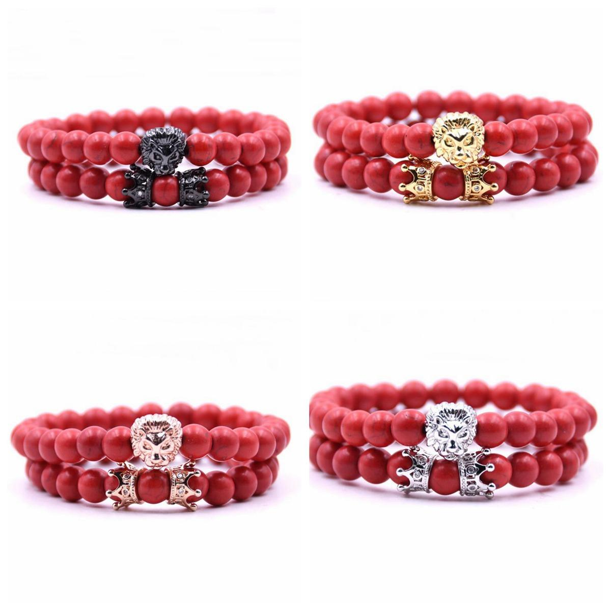 2Pcs/Set Animal King Lion Head Red Turquoise Bangle Natural Stone Crown Couple Bracelet Sets For Men Hand Jewelry Accessories Men women
