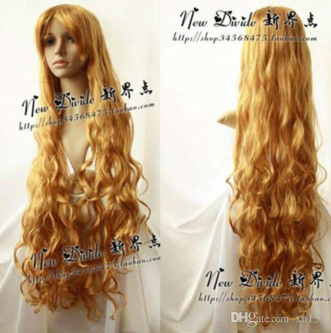 Новая блондинка косплей парик мода длинные волнистые вьющиеся Cos парик волос 100 см