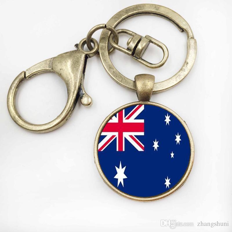 25 MM Pingente De Vidro Chaveiro PanamáAustrália Bandeira Dos Homens Chave Do Carro Acessórios Anel Chave Chaveiro Jóias Titular