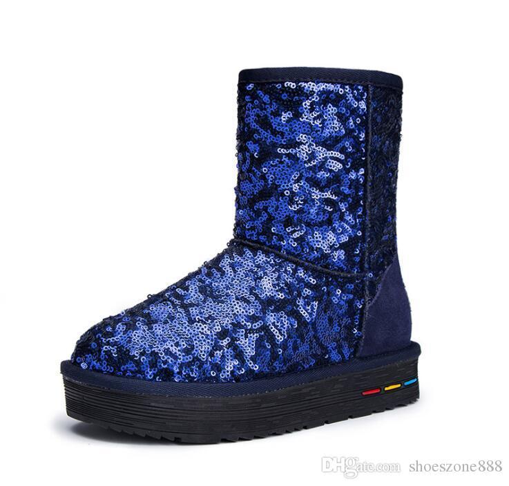 klassische Knöchel Schnee Stiefel Frau Schuhe winter warme Pelz rutschfeste Sohle Pailletten Tuch Mitte der Wade Stiefel Damen zv104