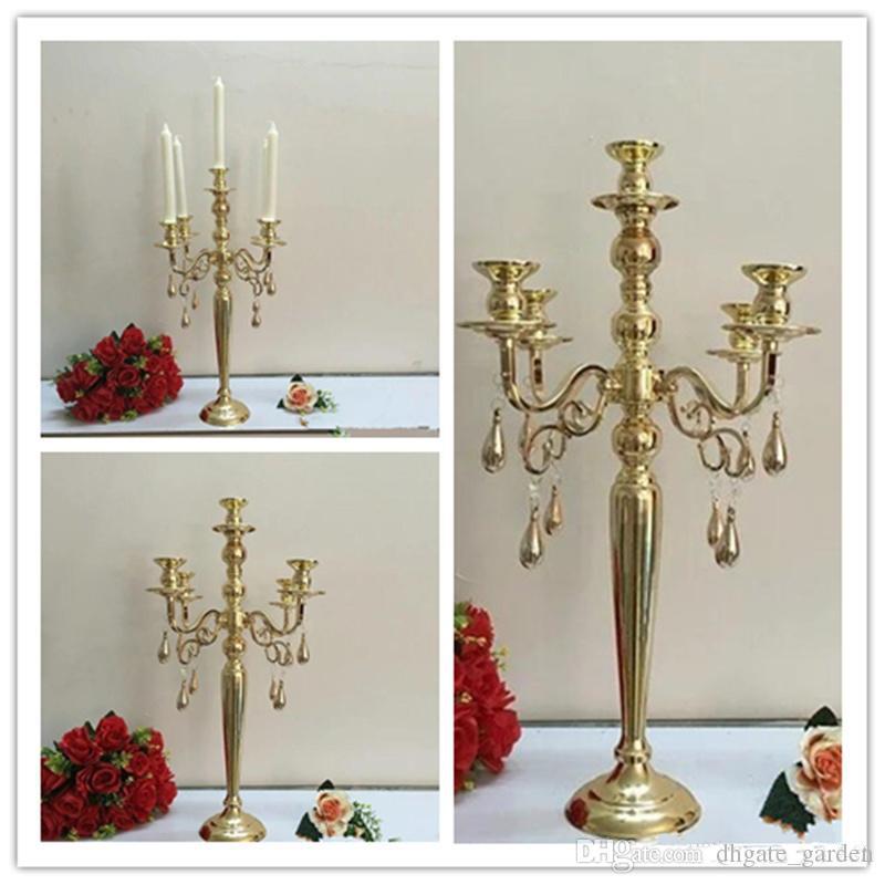 Zarif Uzun Boylu Düğün Ucuz Toptan Antik Altın Metal 5 Arms Candelabras Centerpieces için Düğün Masa Decoation