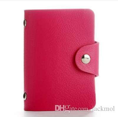 Mode PU Fonction En Cuir 24 Bits Cas de Carte Porte-Cartes D'affaires Hommes Femmes Crédit Passeport Carte Sac ID Passeport Portefeuille