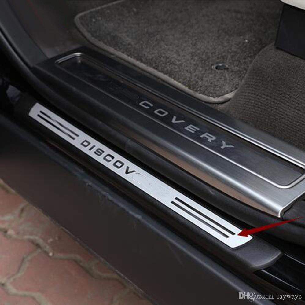 Out side door eşik eşik gezi karşılama pedalı dekoratif sticker kapak rover discovery 5 LR5 için dış aksesuarları dış trim