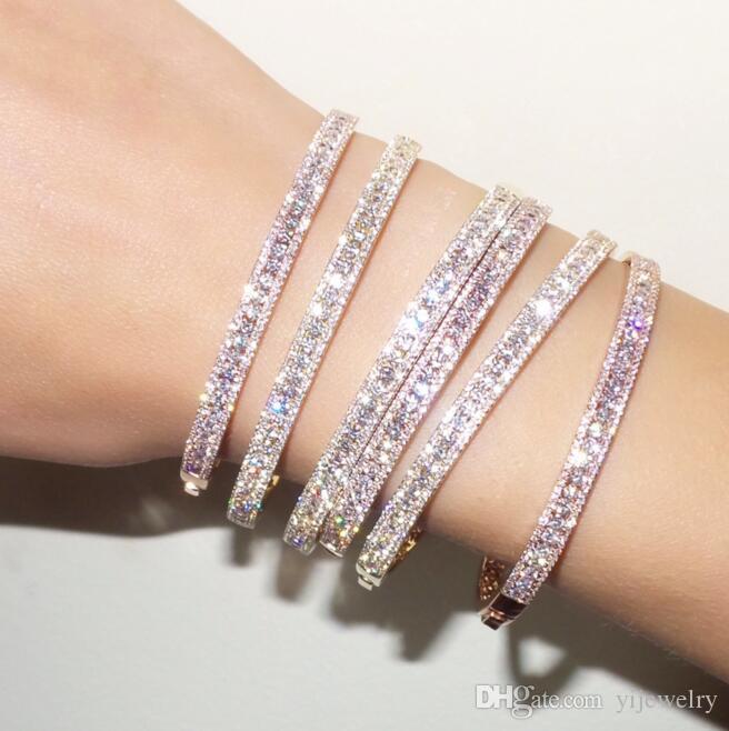 الفاخرة تشيكوسلوفاكيا الكفة الإسورة سوار للمرأة سيدة هدية ثلاثة خط مختبر الماس تشيكوسلوفاكيا الزفاف الفاخرة هدية الأزياء صفعة أساور
