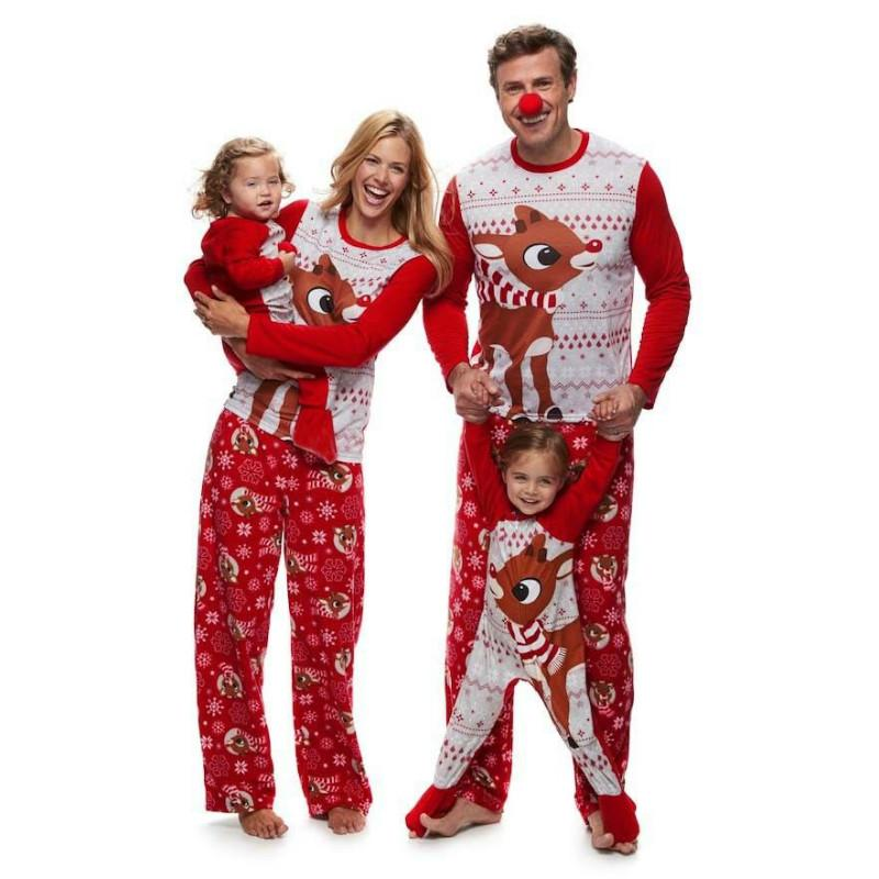 Conjuntos de Pijama de Natal de Combinação de família Impresso Veados Xmas Pijamas Nightwear Adultos Crianças Natal Família Combinando Roupas Vermelhas