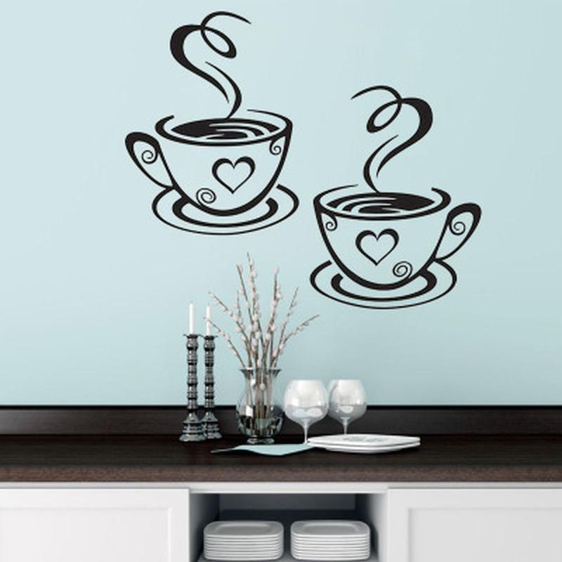 Двойные Кофейные Чашки Настенные Наклейки На Кухне Виниловые Художественные Наклейки На Стены Клейкие Обои Украшение Комнаты Домашний Декор