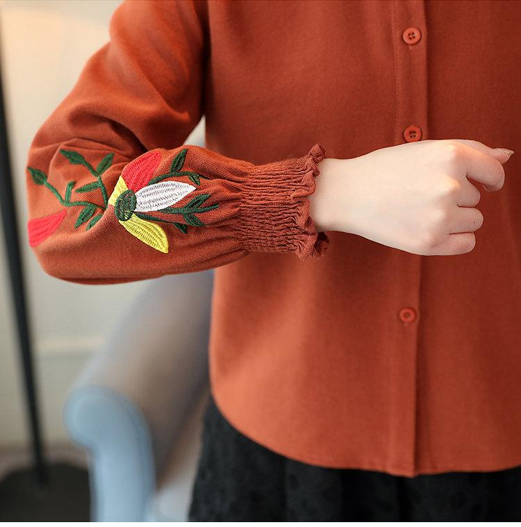 Women\`s Autumn Embroidery Tops 2019 Casual Long Sleeve Female Blouses Work Wear Corduroy Shirts Elegant Office Blusa Mujer Camisas (13)