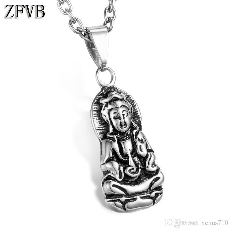 Zfvb النساء avalokitesvara بوذا قلادة قلادة 316l الفولاذ الصلب الصب بوديساتفا تميمة تعويذة المعلقات المجوهرات هدية