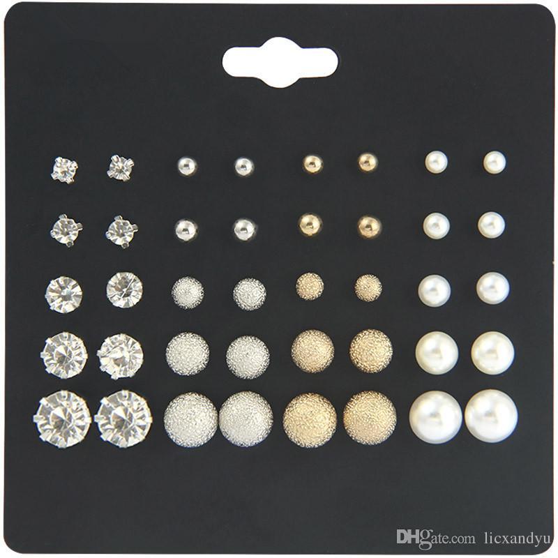 20 pares de juegos de platos pequeños pendientes de oreja mezclados por lotes seis garras Circón Mujer Pendientes Perlas Perlas Joyería de diamantes