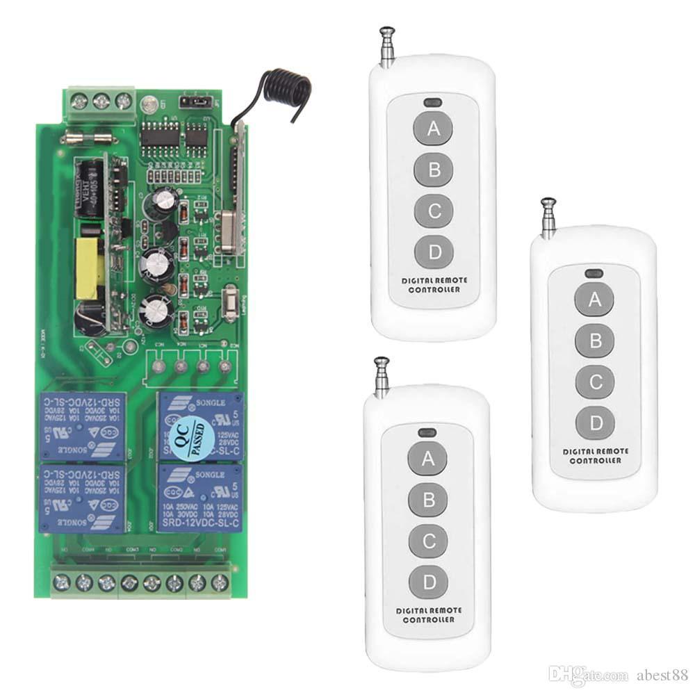 0-500 m AC 85 V-265 V 110 V 220 V 230 V 4 Kanal 4CH RF Kablosuz Uzaktan Kumanda LED Ampul Anahtarı Sistemi Alıcı Verici