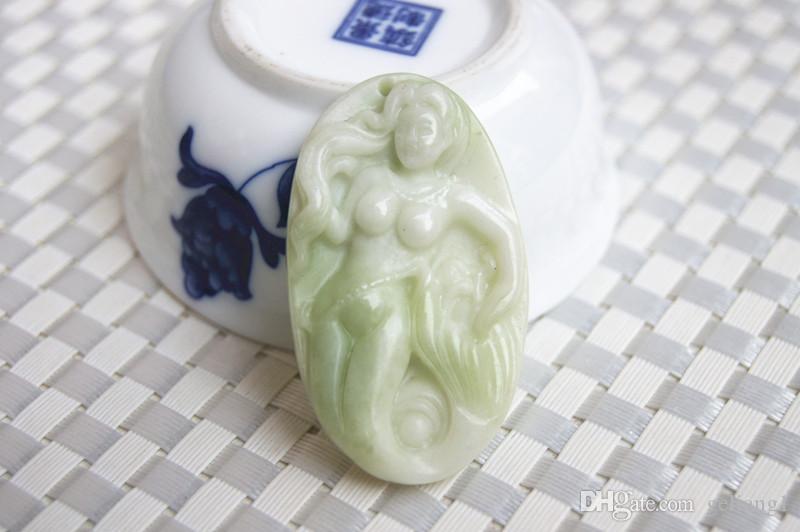 Натуральный зеленый белый нефрит округа Шэньси ланьтянь. Ручной работы талисман русалки. Повезло овальный Шарм ожерелье.