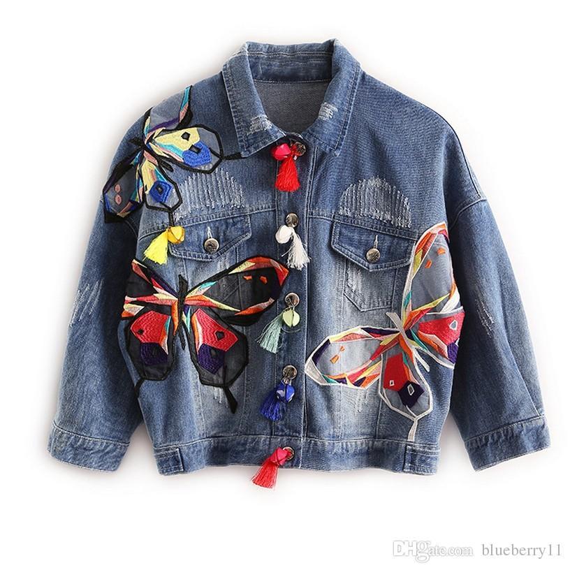 Jean Designs Quaste Blau Jacken Ausgefranst Damen Bunter Mäntel Schlanke Großhandel Mit Von Patch Jacke Schmetterling Stickerei Denim QrxsdCth