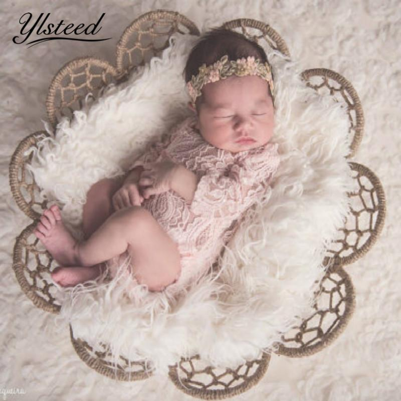 Baby Photography Props Newborn Baby Girls Bowknot Lace Romper Jumpsuit Summer
