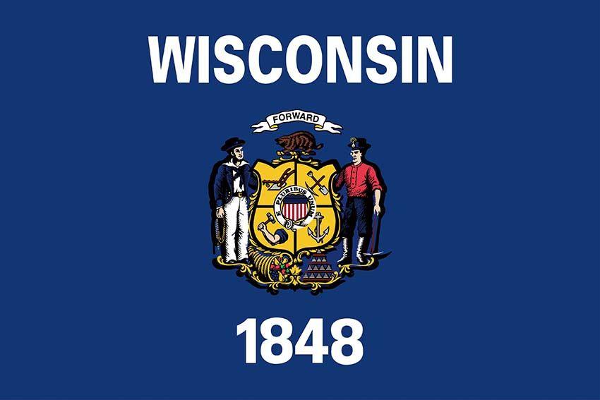 Benutzerdefinierte Wisconsin State Flag 3 x 5 Fuß USA Staaten Polyester Flagge mit 2 Metallöse