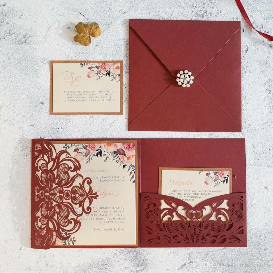 Romántico Tri-doblado Vino Rojo Bolsillo personalizado Láser corte Brillante Invitación de boda Tarjetas Kits de sobres, gratis enviado por DHL